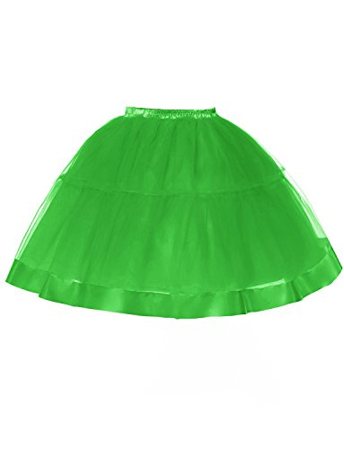 DYSS Donne '50 petticoat scivola tulli sottoveste bolla la crinolina gonna corta Verde