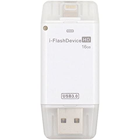 USB 3.0 [Almacenamiento para iPhone] USB Flash Drive istick USB Flash Drive HD i-Flash Drive Memoria Stick Pen Drive para iPhone / iPad / iPod / PC / MAC Blanco (16G)