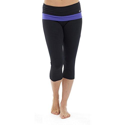 Pantalon de yoga 3/4 - Femme Noir/Rose