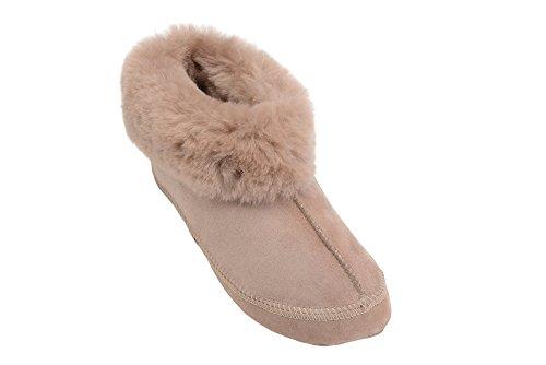 Pantofole Stile Stivaletti Unisex in Vera Pelle di Pecora con Autentica Pelliccia Beige
