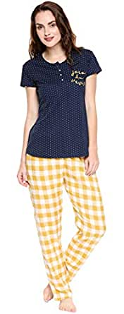 ZEYO Women's Rayon Cotton Navy Blue & Mustered Yellow Dot & Checks Printed Night Suit