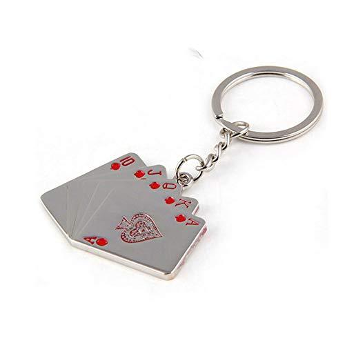 Auto Schlüsselanhänger Schlüsselanhänger, Spielkarten Straight Flush Auto Keychain Autoschlüssel Buckle Schlüsselanhänger Einzigartige Poker-Legierung Handtasche Tasche Geschenk