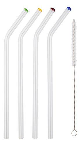 sip-by-saveur-set-di-4-cannucce-in-vetro-ricurve-con-boccaglio-colorato-lunghezza-23-cm-con-spazzola