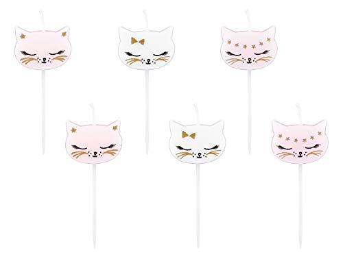 Geburtstags-Kerzen Kuchen-Kerzen zum Aufstecken Kuchen & Torten Deko-ration Kinder-Geburtstag Mädchen Kätzchen rosa Kinder-Geburtstag-s-Feier Cake Topper Kuchen-Aufsatz Motto-Party Prinzessin