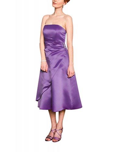 GEORGE BRIDE Einfache traegerlose Satin-Tee-Laenge Brautjungfer Kleid / Abendkleid Lila
