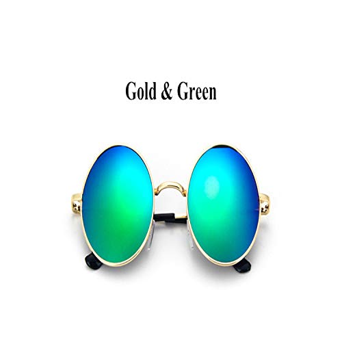Sport-Sonnenbrillen, Vintage Sonnenbrillen, New Brand Designer Classic Polarized Round Sunglasses Männer Small Vintage Retro John Lennon Glasses WoMänner Driving Metal Eyewear Gold Green