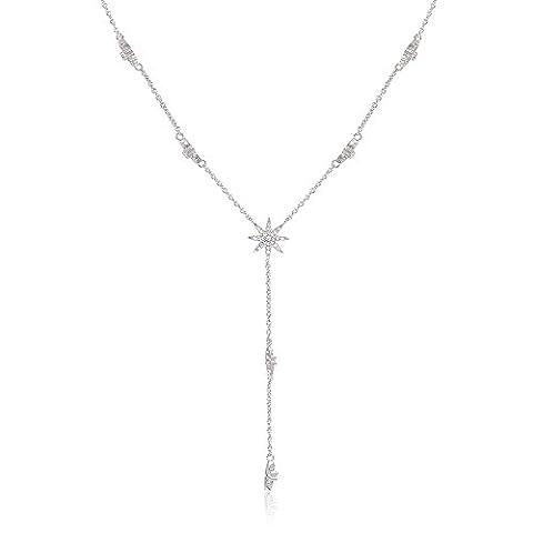 Stern-Fall Lariat Halskette mit Weißgold überzogen