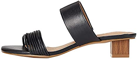 Amazon-Marke: find. Inset Heel Strippy Mule Damen Offene Sandalen