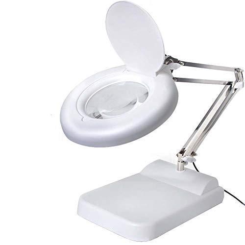 BLEN Große LED beleuchtete Lupe mit Standfuß - Einstellbare Helligkeit - Metallfalte-Halterung - Freihändige Vergrößerungsglas,30X -