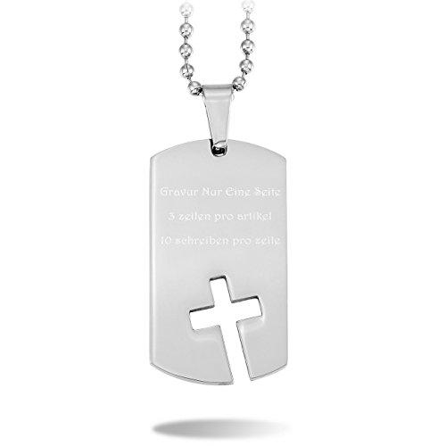 MeMeDIY Silber Ton Edelstahl Anhänger Halskette Dog Tag Kruzifix Kreuz ,mit 58cm Kette - Kundenspezifische Gravur