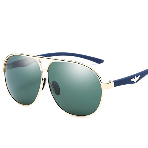 Trendy Men Driving Metal Polarized Aviator Sonnenbrille Polarisierte Sonnenbrille Brille (Color : 02Dark Green, Size : Kostenlos)
