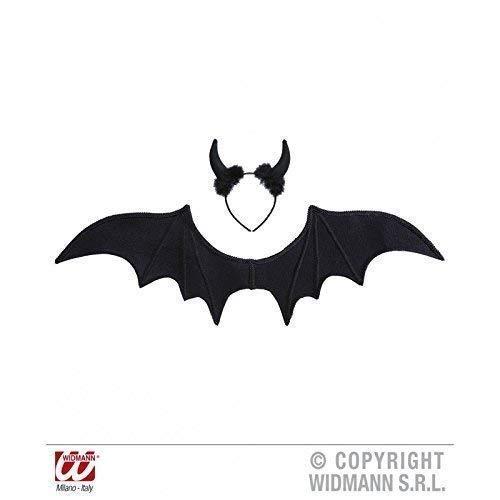 Lively Moments Schwarzer Teufel mit Flügeln und Teufelshörnern / Teufelsschwingen / Fasching / Halloween / Halloweenkostüm / Teufelskostüm (Schwarzer Teufel Kostüm Zubehör)