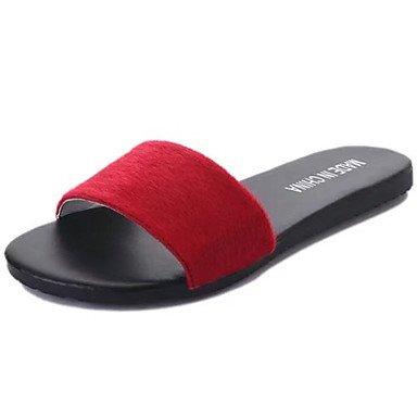 LvYuan Da donna Sandali PU (Poliuretano) Primavera Estate Piatto Nero Grigio Rosso Schermo a colori Meno di 2,5 cm Black