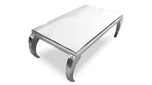 MobilierMoss Ines Table Basse en Miroir Baroque Miroir Argent 131x81x48, 5 cm