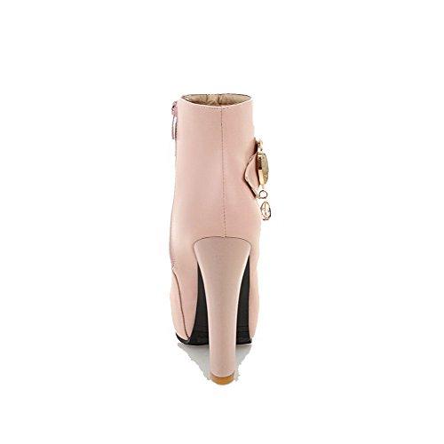 VogueZone009 Damen Hoher Absatz Rein Weiches Material Reißverschluss Stiefel Pink