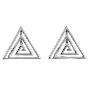 1001 Bijoux - Boucles d'oreille triangle moderne fermoir clip + tige argent r