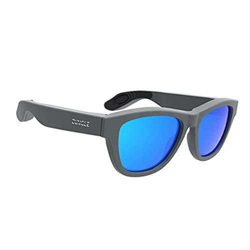 HONGNA Knochenleitung Kopfhörer Brille USB-Aufladung Drahtlose Bluetooth-Headset Sportsonnenbrille Kopf Ohr Sport Ohr Bones Outdoor-Sport Fahren Angeln Anti-Glare Anti-UV (Farbe : Gray)
