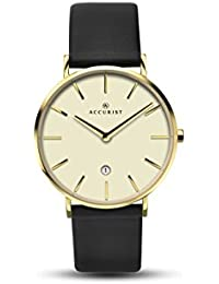 Accurist Unisex  Quartz Watch with Off-White Dial Analogue Display and Black Leather Strap 7147.01
