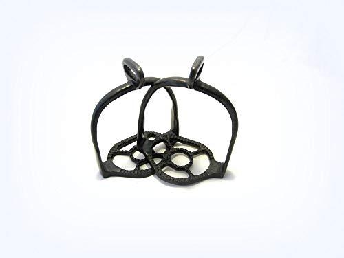 PS Pferdeartikel Antik brünierte Portugiesisch barocke Steigbügel - Schwarz, 90° gedreht