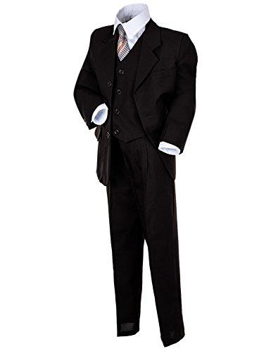 """Kinder Anzug """"Paul"""" klassisch-elegant in 4 Farben! 5-tlg. Anzug in Schwarz, Grau, Braun u. Weiß! Sakko, Weste, Hose, Hemd u. Krawatte! Gr.08(128),schwarz)"""