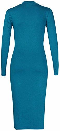 À Manches Longues Pour Femmes Femme Extensible Tortue Polo Encolure Robe Moulante Uni Haut Tunique Long Sarcelle