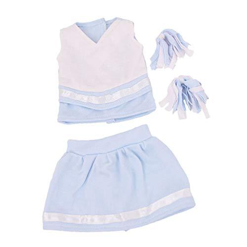 F Fityle 4-teilig Schöne Mädchen Puppe Cheerleading Sommer Kleidung Outfits Für 18 Zoll Puppen Dress Up - Blau