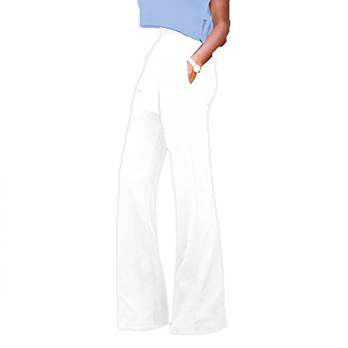 Sg Women Tie Front High Waist Wide Leg Long Pants Workwear Trousers