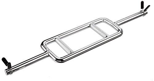 ScSPORTS Trizepsstange Trizepstrainer Hantelstange, massiver Stahl, verchromt, 83 cm, Ø 30 mm, 8 kg, inklusive 2x Schnellverschluss/Federverschluss