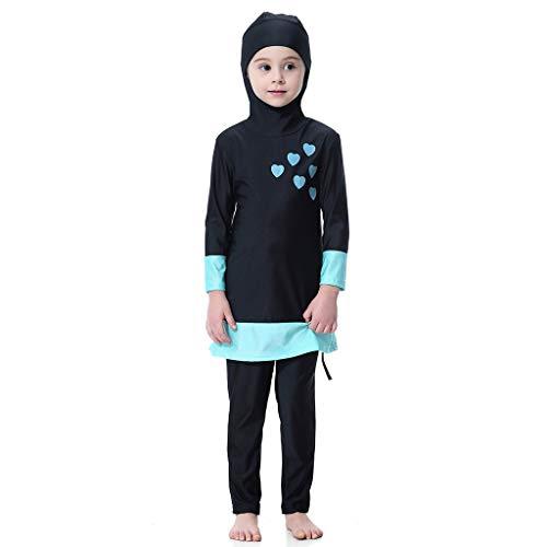 (Lonshell Kinder Mädchen Hoodie Badeanzug mit UV-Schutz Vollkörper Strandkleidung Zweiteiliger Tankini Muslim Bademode Langarm Schwimmen Kostüm Hose Alter 1-15 Jahre)