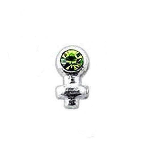 Eclectic Shop Uk Nase Stud Silber Venus Damen Symbol Peridot oder Amethyst 1mm Edelstein L Biegbar