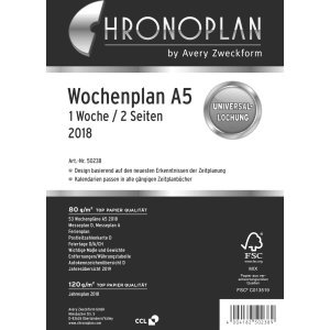 Chronoplan Weekly Schedule A5Week on Two Pages English Diary White 2018