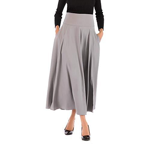 Beonzale Frauen hohe Taille Schicke Ladies Stilvoll plissiert eine Linie Langen Rock Front Slit Belted Maxi Rock Kleider