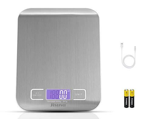 JISUSU Küchenwaage Digital Klein Präzision auf bis zu 1g/5kg Maximalgewicht Digitalwaage Elektronische Waage mit LCD-Display für Backen & Kochen, Silber