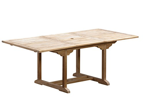 Trendy-Home24 Table rectangulaire à rallonge Teck Massif Bois Massif 200/260 x 100 cm Extensible Table à Manger Table de Jardin