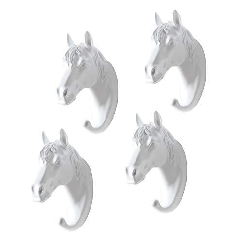 ADhook 4 Pack Kleiderbügel Handtuchhalter Pferd Wand montiert, dekorative Harz Wandhaken Türhaken für Mäntel, Hüte, Schlüssel, Handtücher, Schmuck,White -