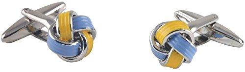 Argento / giallo / blu epossidica placcato nodo Gemelli di David Van Hagen - Blu Placcato Gemelli
