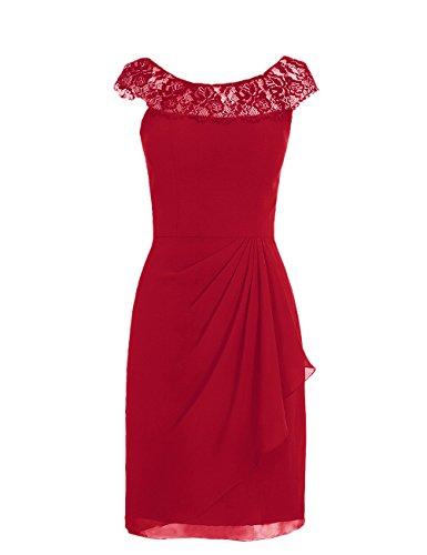 Dresstells, robe courte de demoiselle d'honneur mousseline sans manches, col ras du cou en dentelle Rouge Foncé