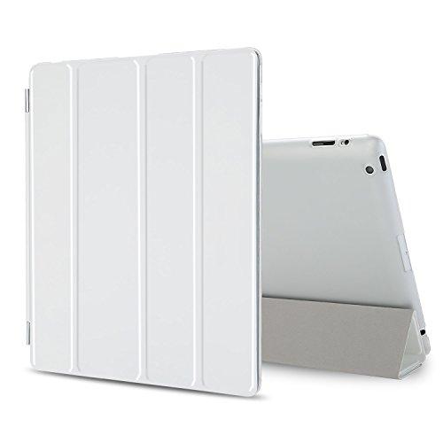 Besdata iPad 2 3 4 Hülle Smart Cover Schutz Case Leder Tasche Etui für Apple iPad Ständer Sleep Wake mit Displayschutzfolie Reinigungstuch Stift Weiß