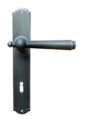 Gusseisen Drückergarnitur für Zimmertüren Türbeschlag Antik auf Langschild - Modell München   BB 90 mm - Buntbart   Schmiedeeisen schwarz verzinkt   Türdrücker mit Hochhaltefeder   Baubeschläge von JUVA®