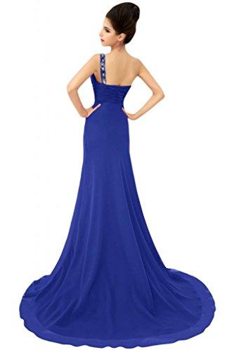 Sunvary formale abiti da sera o Chiffon Una spalla A-line madre della sposa Gowns Blu