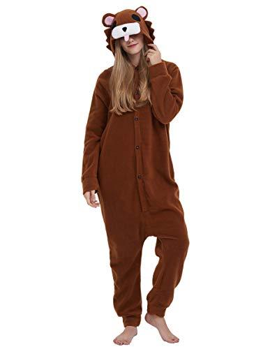 Braun Für Bär Erwachsene Kostüm - Jumpsuit Onesie Tier Karton Fasching Halloween Kostüm Lounge Sleepsuit Cosplay Overall Pyjama Schlafanzug Erwachsene Unisex Braun Bär for Höhe 140-187CM