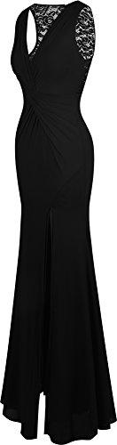 Angel-fashions Femme V Neck Lace arriere Cross ruches fente gaine robe de bal Noir