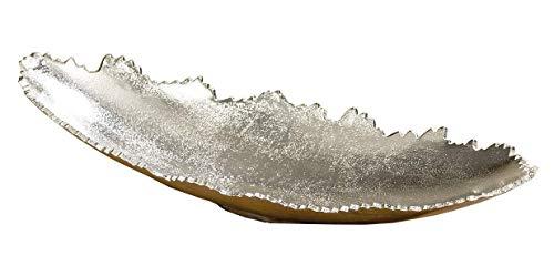 Dekoschale länglich Schale oval Silber Metall massiv Deko Tischdeko 32 o. 42 cm (Groß: 42 cm)