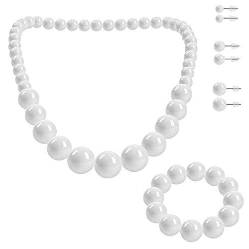 SoulCats® Schmuckset, Perlenkette, Perlenarmband und 3 Paar Ohrstecker, Farbe: weiß (Perle 60 Halskette)