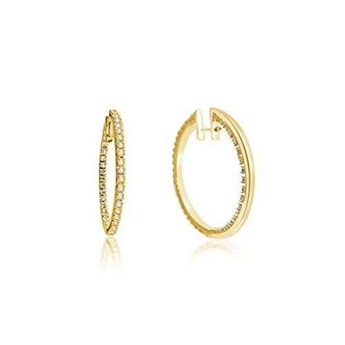 0.38ct G/VS1 Diamant Reifen Ohrringe für Damen mit runden Brillantschliff diamanten in 18kt (750) (Am Zweit Besten Zu Kostüme)