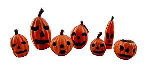 Melody Jane Puppenhaus Miniatur Halloween Kürbisse Jack O Lantern 7er Set