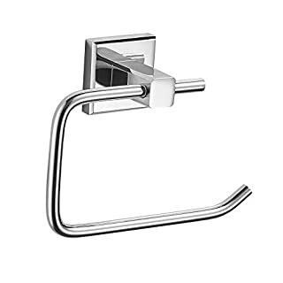 BESy Brass Toilet Paper Holder, Bathroom Toilet Roll Holder, Wall Mounted Toilet Tissue Hanger Holder, Contemporary Style Bathroom Accessories Bathroom Fixtures, Polished Chrome Finish
