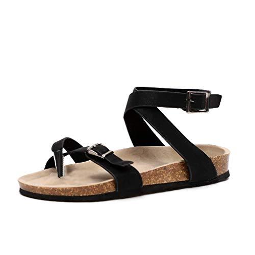 Sandali da donna estate cuoio elegante casual shoes infradito tacco basso peep toe cinturino alla caviglia scarpe piattaforma comfort spiaggia nero marrone beige 35-44 bk38