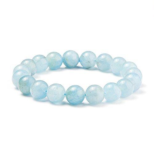 SUNNYCLUE Echte Edelsteine Ocean Blau Aquamarin Armband Stretch Perlen rund 10 mm über 7