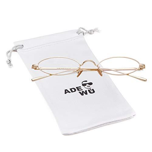 ADEWU Retro Oval Sonnenbrillen Metall Runde Vintage Brillen für Herren Damen (Oval - Klar Linse + Golden Rahmen)
